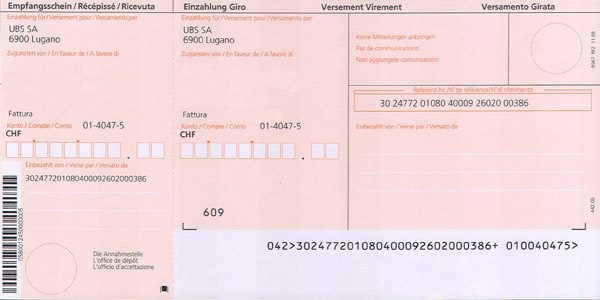 UBS orange inpayment slip (ISR)